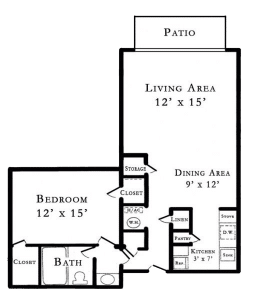 1 Bed / 1 Bath / 644 sq ft / Rent: $695