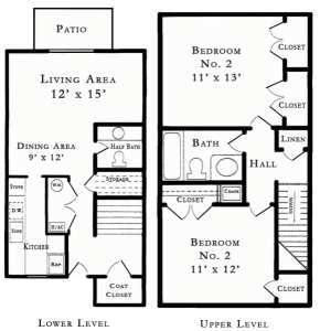 2 Bed / 1½ Bath / 937 sq ft / Rent: $765